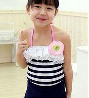 New baby girls Swimwear black and white stripe kids Swimsuit Bikini 3215