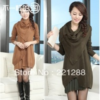 winter 2013 european style novelty luxury brand long sleeves sweater dress bottoming cashmere sweater irregular dress large size