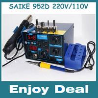 New Saike 952D 2 in 1 Rework Station Hot Air Gun Soldering Station 760W 220V