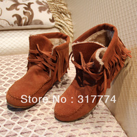 Free shipping Autumn and winter genuine leather tassel  snow  flat single boots plus size MOQ 1PAIR