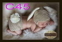 free shipping,Baby Bunny Hat, Newborn Photo Prop Set, Easter Rabbit Hat,Diaper Cover