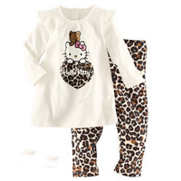 Free shipping  new 100% cotton Hello kitty baby pajamas of the children leopard pyjamas kids baby clothing  6sets/lot