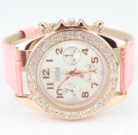Free Shipping 5 colors luxury gold dial full crystal shinning women watch dress watch with pu leather 1 pc/lot