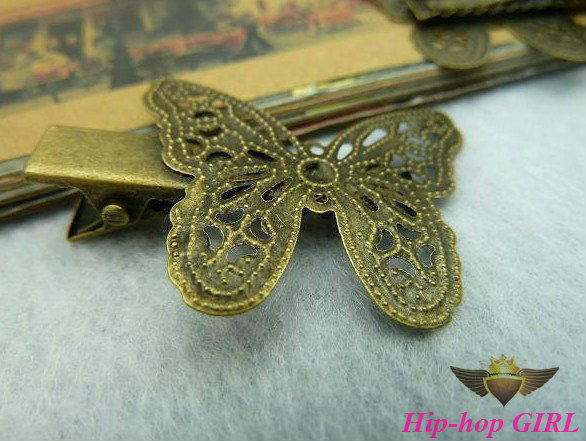 20pcs/lot Zinc Alloy Antique Bronze Butterfly Hairclip Jewelry Haipin DIY Accessories 28*38MM HG4335(China (Mainland))