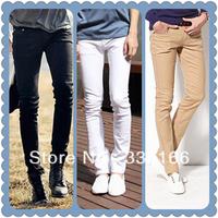 New Fashion Men Skinny Jeans Khaki/Black/White,  Slim Multi-pocket Casual Pencil Pants 27--34  #JM09495--Free Shipping
