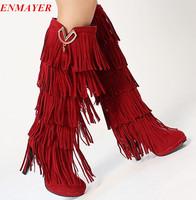 ENMAYER big size 34-43 new design tassel knee boots for women stiletto heels winter snow boots booties high heels women