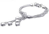 2014 Brand New Fashion Snake Multi Chain Bracelet Plated Copper Alloy Movable Lobster Clasp With Heart Pendant Adjustable Long