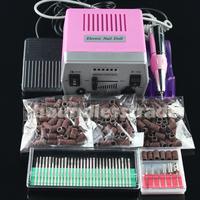 Free Shipping 220V EU Plug Nail Drill File Machine Kit  with 30x Bits + 300x Sanding Bands_KD141PE+163+165-167