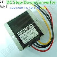 DC-DC Car Converter Step-Down Buck Module 12V/24V to 5V 15A  75W  Input: 12/24V, Output: 5v  15A