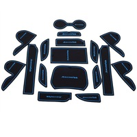 2013 Hyundai IX45 Santa fe Gate Slot Pad Rubber Car-cup Mat Pad Non-slip Mat Car Accessories Blue 17pcs