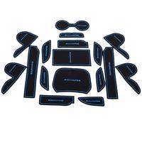 Fit for 2013 Hyundai IX45 Santa fe Gate Slot Pad Rubber Car-cup Mat Pad Non-slip Mat Car Accessories Blue 17pcs