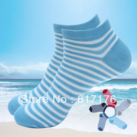 Free Shipping 2013 Hight Quality Stripe Style / Ladies Ankle Socks /Womens Boat Socks /Ladies Cotton Blended Socks 12 pairs /lot