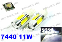 Freeshipping 7440 11W T20 11W High Power Super Bright Auto Car LED Turn Tail Brake Light Bulb Lights Lamp DC 12v White