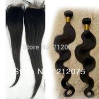 "10-24""inches Brazilian Virgin Hair 1pcs Lace Closure 4x4""+2pcs body wave hair  weft extensions natural Color  3pcs/lot"