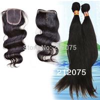 "3pcs/lot 10-24""inches Mix Brazilian Virgin Hair 1pcs Lace Closure 4x4""+2pcs straight hair weft extensions"