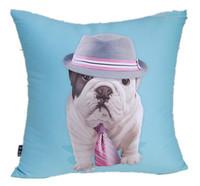 Modern New Fashion Blue Bull Dog Bulldog Hat Printed Decorative Pop Art Cotton Pillow Case Cushion Cover Sham 45cm x 45cm