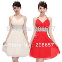 100% New Fashion Woman Halter Slim Chiffon Off Shoulder Graceful Short Evening Party Dress FZ070