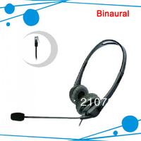Binaural treffic earphones telephone headset phone earphones call center headset customer service 5pcs/lot free shipping free