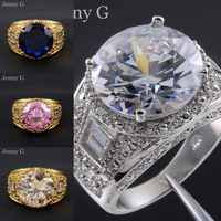 Jenny G Jewelry Size 9-11 Brand Big Emerald, Sapphire Stone Trillion-cut Diamonique Gem 10KT Gold Filled Wedding Ring for Men