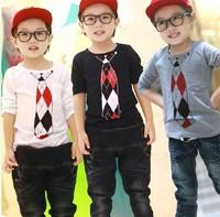 2014 autumn new arrival wholesale 5pcs/lot Fashion cute 2 colors boy tie printing top tee children tie T shirt