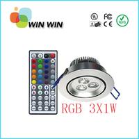 85-265V AC 3W RGB Led downlight with IR 44key led controller