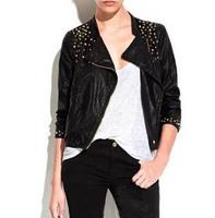 New Arrival (white,black) Motorcycle Short Leather Jacket Autumn Brand Punk Rivet Leather Jackets Women 2013