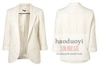 Womens candy color slim blazer with three quarter sleeve and with out button design for wholesale and freeshipping