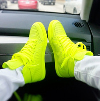 Men/women  brand name high top sneakers men fashion flat shoes 2014 green yellow orange size 39-45