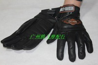 HD Genuine Leather  Motorcycle Gloves   Size M - L - XL Black