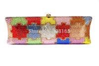free shipping new 2013 top quality fashion Multicolored women chain clutch bag,fashion luxury evening bags, crystal handbags
