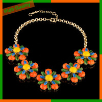 Fashion Female Accessories Neon Color Luxury all-match Costume Gold Chain Plated Flower Pendant Necklace Free Shipping S01020092