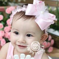 Min order is $10(mix order) Baby pearl chiffon bow hair band child hair accessory princess hair accessory