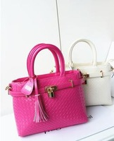 2013 new tide female bag leather embossing woven handbags platinum small tassel one shoulder inclined shoulder bag lock