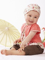 70% OFF cute baby suit: pink sets:3 pieces:top + brown short pants + headband/ Baby wear baby set/ Lovely New designs