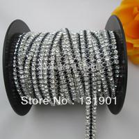 (FL74) 1 Yard 3 Rows Clear Crystal Rhinetone Trim Silver Setting Pretty Chain