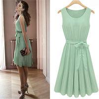 2013 New Womens Lady Elegant Sleeveless Pleated Chiffon Vest Dress With Lining 6033