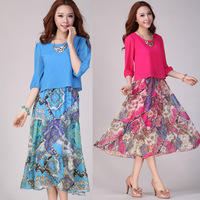 XL~4XL! 2013 Summer New Ladies Plus Size XXXXL Bohemian Beach Lantern Half Sleeve Mid-Calf Full Maxi Chiffon Cute Women Dresses