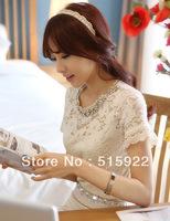 Free Shipping  2013 new Korean Clothes Women Summer Fashion Elegant White Beading Collar Floral Lace Blose S/M/L/XL Size 8870