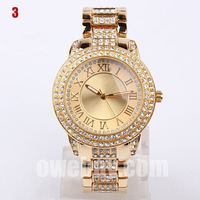 2013 Hot Sell Brand Quartz Watch Crystal Stone Clock Fashion Women Wristwatch Stainless Steel Hours With Brilliant Diamond