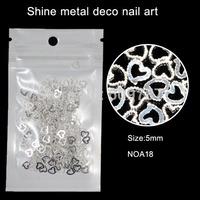 200pcs/lot Silver Heart Studs Metal Nail Art Decoration Metallic For DIY 3D Acrylic