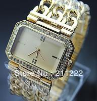2013 New Style Women Luxury Brand New Watch 3 Chain Rectangle Clock Fashion Stainless Steel Big Size Quartz Watch Lady's Hours