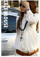 New 2014 Hot Sale Fashion Women's Long Tunic Top Vintage Hippie Chiffon White Lace Shirt Blouse Free Shipping