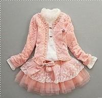 Free Shipping 4sets/lot Girls Dress Set T Shirt +Coat+Skirt 110-140CM Pink Princess 2013 Girls Fashion Dress