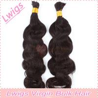 Lwigs Bulk hair Brazilian virgin natural color body wave hair bulk/ High quality 100% Virgin hair bulk hair extensions