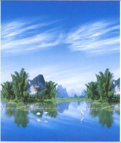 Colorido da paisagem pintura janela sombreadas cortinas de rolo de tecido(China (Mainland))