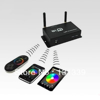 Wifi wireless LED RGB controller controlled by remote controller or smart phone to control led dream color strips,free shipping
