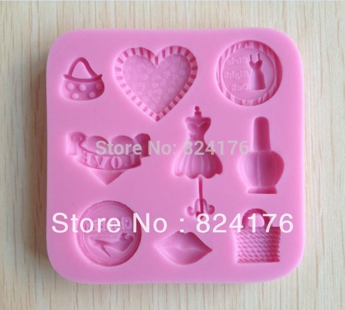 1pcs Purse shaped Chocolate Candy Jello 3D silicone Mold Mould Cartoon Figre/cake tools Soap Mold Sugar craft Cake Decoration(China (Mainland))