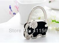 Free shipping New Arrived 1 PC Cute Balck Elephant Design Handbag Folding Bag Purse Hook Hanger Holder Wedding For Friend Gifts
