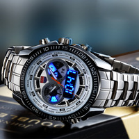 TVG Stainless Steel Luxury Black Men's Clock Fashion Blue Binary Sports LED Watch 30AM Waterproof Watches KM-468 Free shipping
