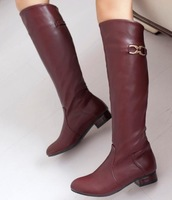 ENMAYER 2015  plush stretch fabric fashion women's knee boots waterproof boots leather boots